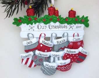 11 Family Mittens Ornament / Personalized Christmas Ornament / Family of Eleven Mittens on Mantel / Grandchildren
