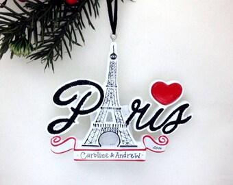 Paris Personalized Christmas Ornament / Paris Ornament / Souvenir / Custom Names or Message / France Vacation / Eiffel Tower