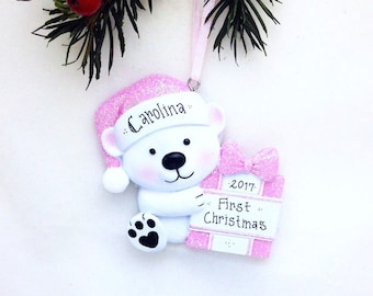 Little Pink Bear Personalized Christmas Ornament / First Christmas / 2nd Christmas / Baby Girl / Toddler / Child