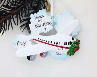 Home for Christmas Personalized ornament / Airplane Ornament / Travel Ornament / Hand Personalized Name or Message
