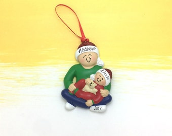 Best Big Brother and Teddy Bear Personalized Christmas Ornament / Single Parent / Single Guardian / Our Family Ornament / Big Brother