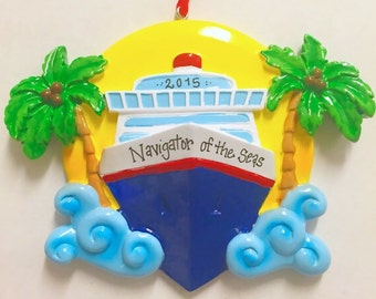 Cruise Ship Personalized Christmas Ornament / Cruise Ornament / Yacht Christmas Ornament