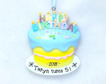 Birthday Cake Personalized Christmas Ornament / First Birthday Ornament / Birthday Ornament / Hand Personalized