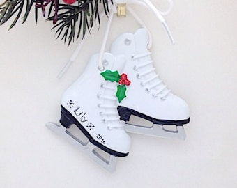 ice skates personalized christmas ornament figure skater ornament ice skating ornament custom name or message - Ice Skating Christmas Ornaments