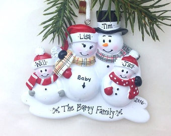 4 Expecting Family Christmas Ornament / New Baby Makes Five Snowmen Ornament / New Baby Personalized Ornament / Family of Five