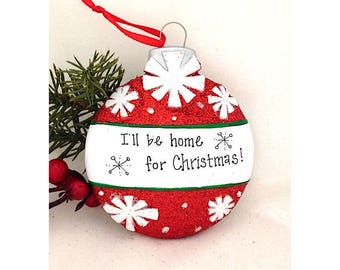 Red Christmas Ball with Snowflakes Personalized Christmas Ornament / First Christmas / Child's Ornament / Personalized Gift