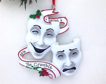 Theater Personalized Christmas Ornament / Theater Masks Ornament / Masks of Comedy and Tragedy / Actor Ornament