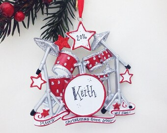 star drummer personalized christmas ornament drum set ornament rock n roll percussionist christmas ornament