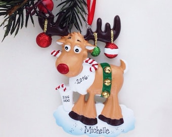 Moose Personalized Christmas Ornament / Drunk Moose / Moose with Eggnog / Funny Christmas Ornament