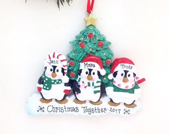 3 Happy Christmas Penguins Personalized Christmas Ornament / Family Christmas Ornament /  3 Family Ornament / Baby Makes 3