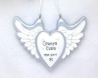 Heart with Wings Personalized Christmas Ornament / Memorial Ornament / Rest in Peace Ornament / Baby Memorial Ornament / RIP