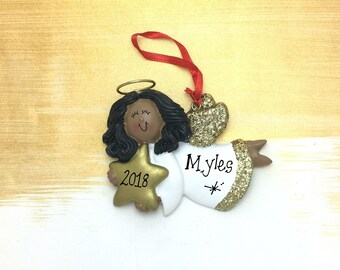 African American Angel Holding a Falling Star Ornament / My Little Angel / Personalized Toddler Ornament / Personalized Child Ornament