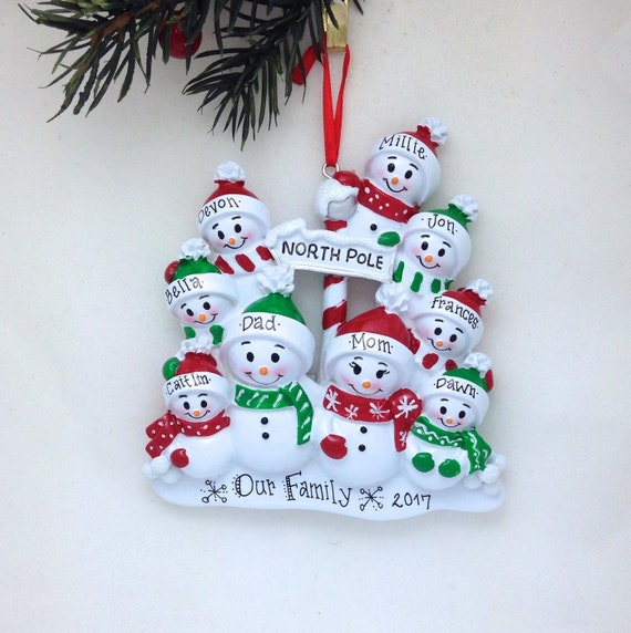 Personalized Snowman Family of 9 Christmas Ornament