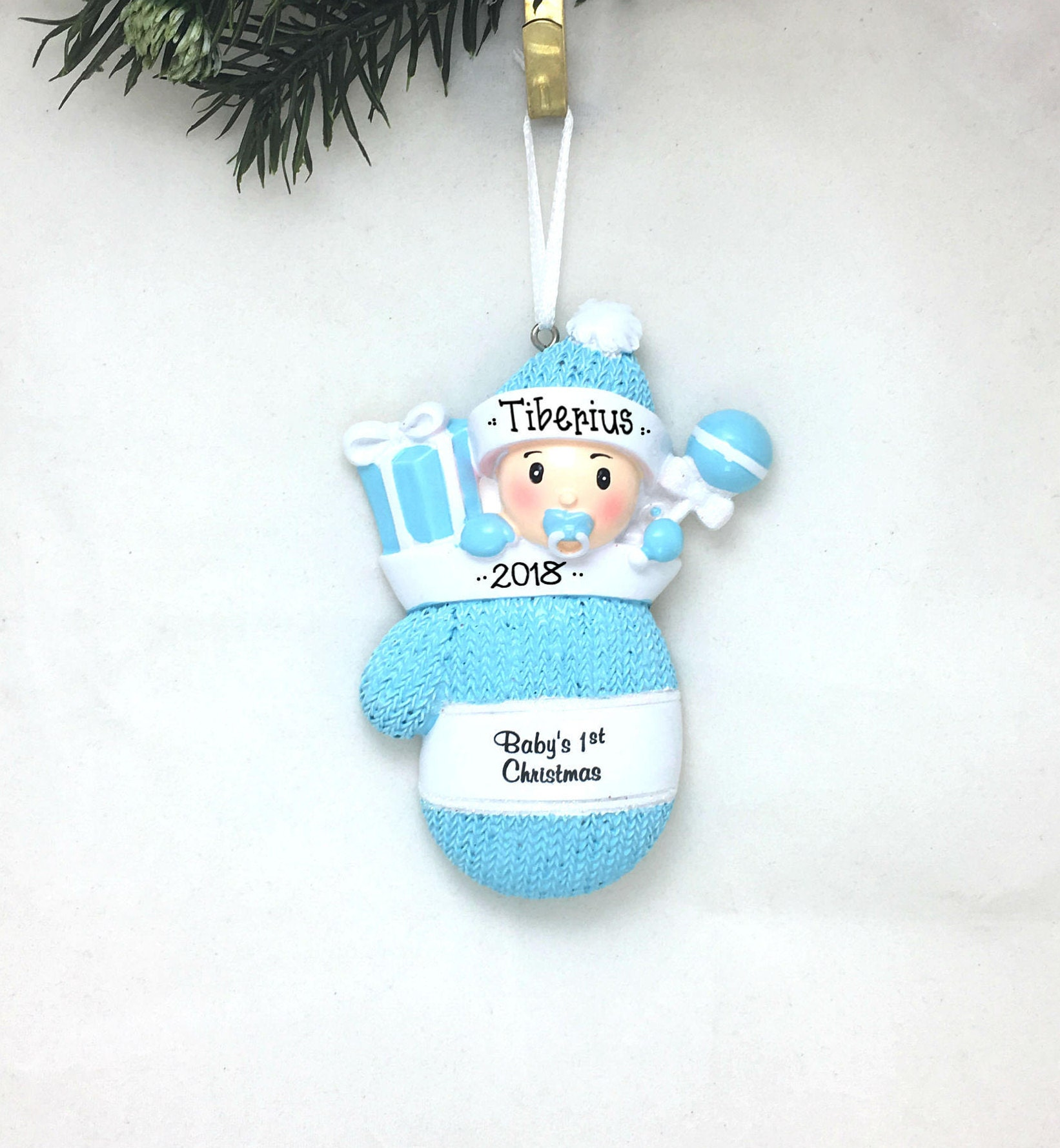 Baby Boy Blue Mitten Personalized Christmas Ornament Babys 1St Christmas