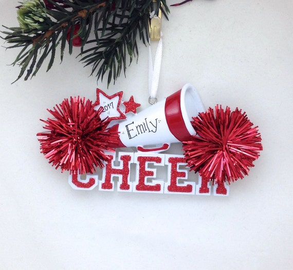 733fca840d24 Cheerleader Christmas Ornament / Cheerleading Ornament Red Pom Poms /  Personalized Christmas Ornament / Cheer Team Ornament