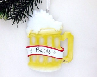 Beer Mug Personalized Christmas Ornament / Beer Lover / Personalized Ornament / Craft Beer / Hand Personalized