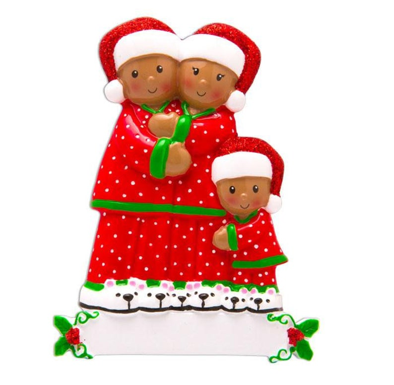 3 Family in Matching Pajamas Personalized Christmas Ornament  African American  Brown Family  Black Family of Three  New Baby