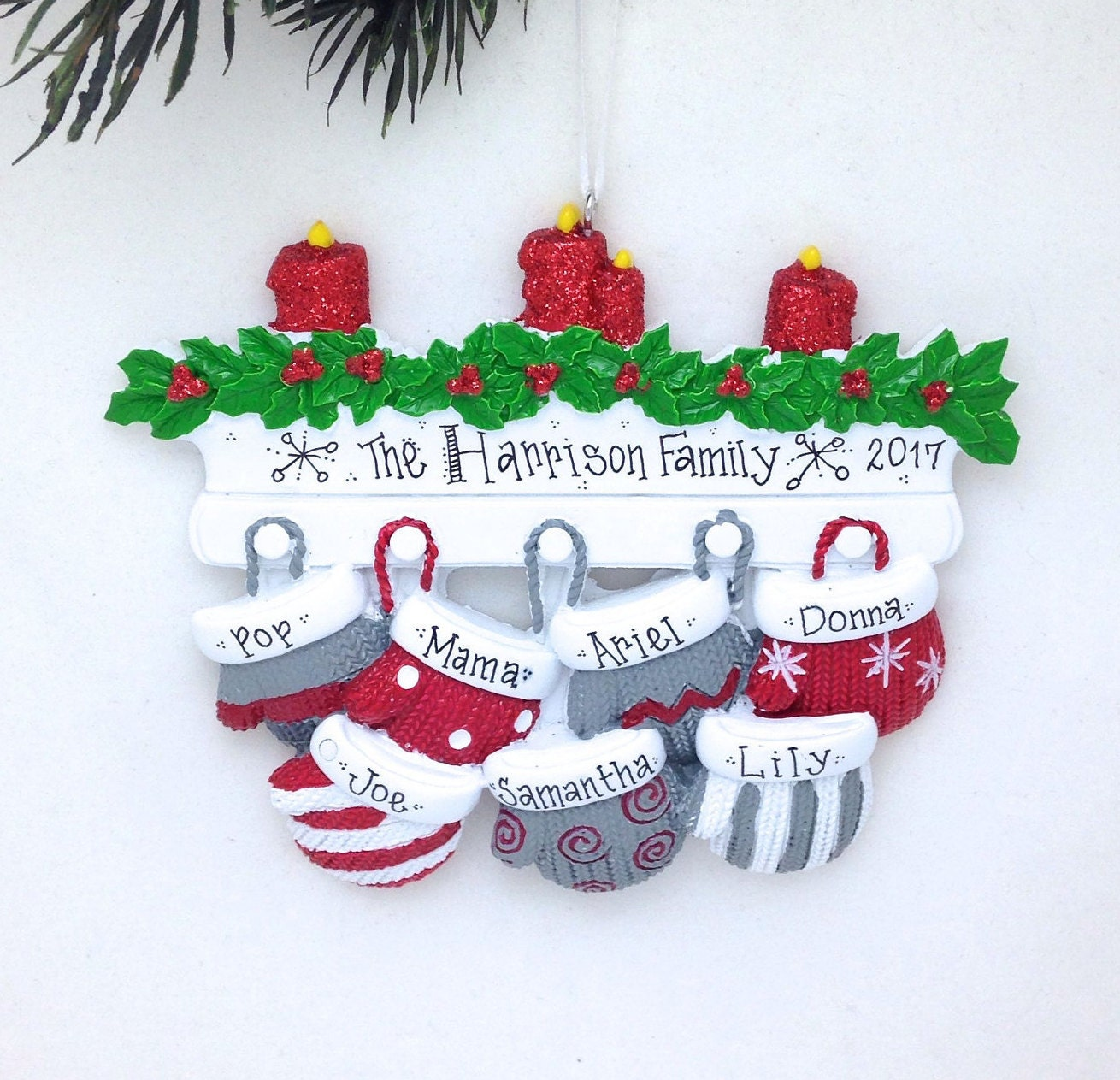 7 christmas mittens personalized christmas ornament personalized family christmas ornament large family ornament