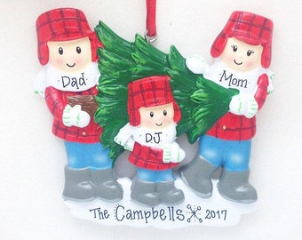 Family of 3 Personalized Christmas Ornament / Choosing the Christmas Tree
