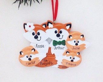 5 Foxes Family Ornament / Personalized Christmas Ornament / Family of Five Foxes / Christmas Ornament
