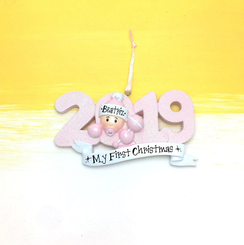 2019 Baby Girl Personalized  Christmas Ornament  Baby/'s 1st Christmas  Baby/'s First Christmas Ornament  New Baby Ornament
