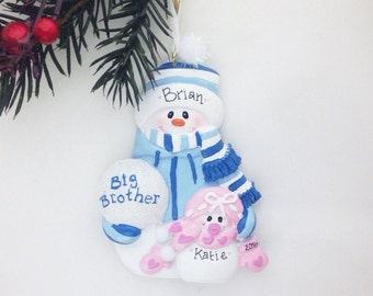Big Brother and Little Sister Personalized Christmas Ornament - Sibling Ornament - Snowman Ornament