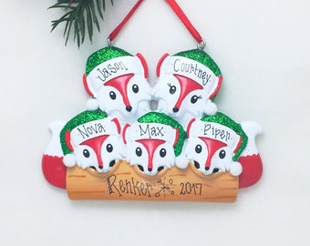 5 Red Foxes Family Ornament / Personalized Christmas Ornament / Family of Five Red Foxes / Christmas Ornament