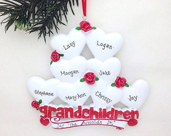 8 Grandchildren Personalized Christmas Ornament / Grandparents Ornament / Grandmother Ornament / Grandfather Ornament