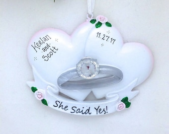 Engagement Ring with Hearts Personalized Christmas Ornament // She Said Yes! // Engagement Ornament // Personalized Ornament