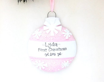 Pink Christmas Ball Personalized Christmas Ornament / Baby's First Christmas / Baby Ornament / Baby Girl