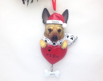 German Shepherd Personalized Christmas Ornament / Custom Names or Message / Stocking Stuffer