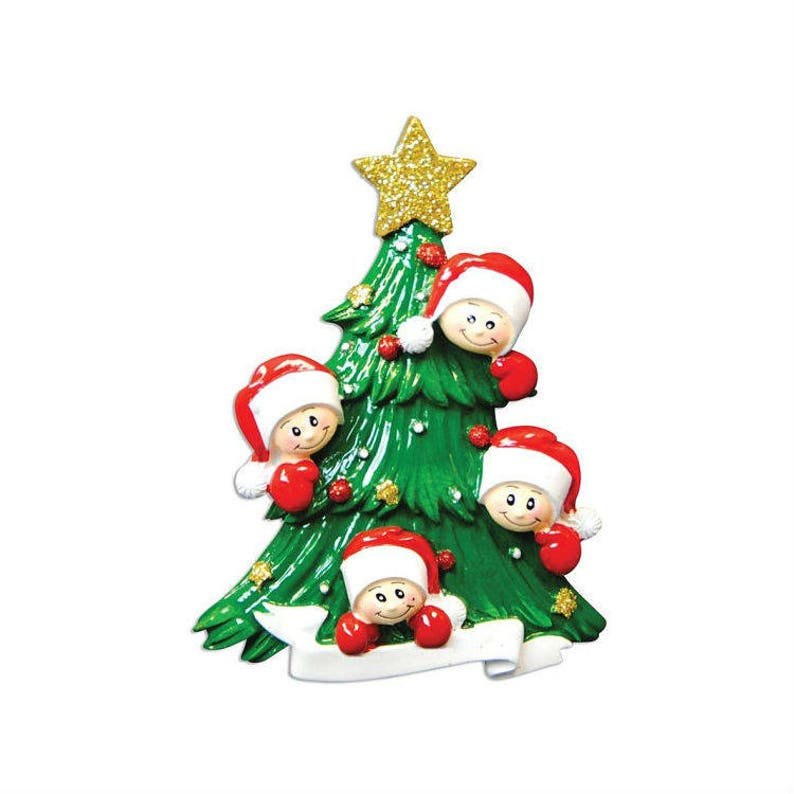 4 Happy Faces Christmas Tree Personalized Christmas Ornament Personalized Ornament  Family of 4  Custom Names and Message