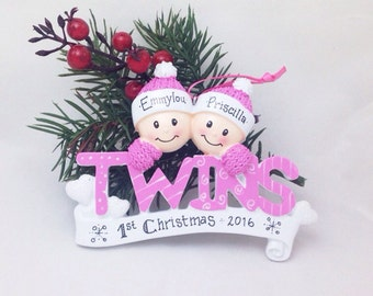 Baby Twins First Christmas Ornament / Girl Twins Ornament / Baby Girls / Personalized Baby Gift / Baby Ornament