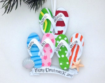 6 Flip Flops Family Personalized Christmas Ornament / Family of 6 / Family Christmas Ornament / Tropical Christmas