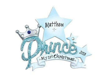 Our Little Prince Personalized Christmas Ornament / Baby's 1st Christmas / Baby's First Christmas Ornament / New Baby Ornament