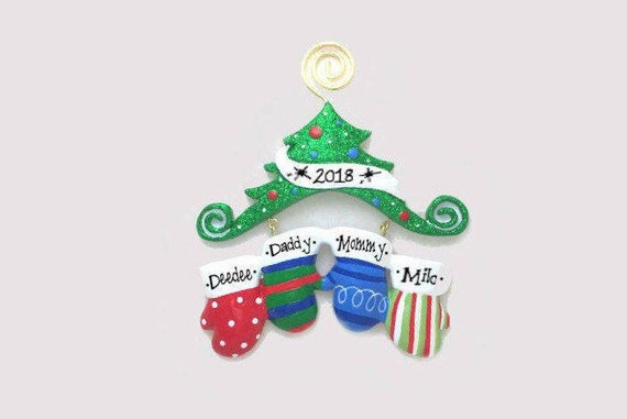 4 Family Mittens Ornament