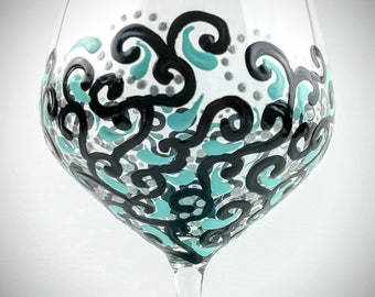 2 Hand Painted Wine Glasses Personalized Turquoise Swirl Pattern Gift for Wedding Birthday Bridesmaid Stemmed Wine Glass Paint Glass
