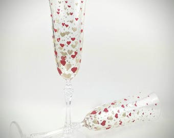 Valentine Wine Glasses Heart Wine Glasses Hand Painted Gift Etsy