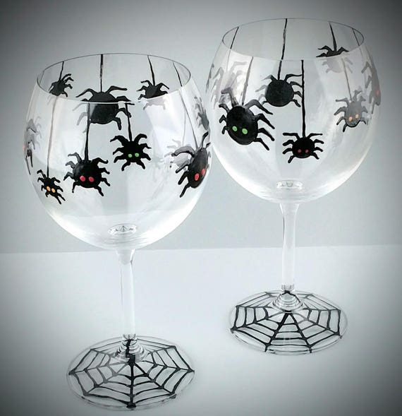 Hanging Spiders Halloween Hand Painted Wine Glasses Glass Etsy