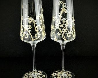 Gold Champagne Flutes, hand painted, wedding champagne glasses, anniversary glasses, wedding flutes, toasting flutes, Swarovski crystals