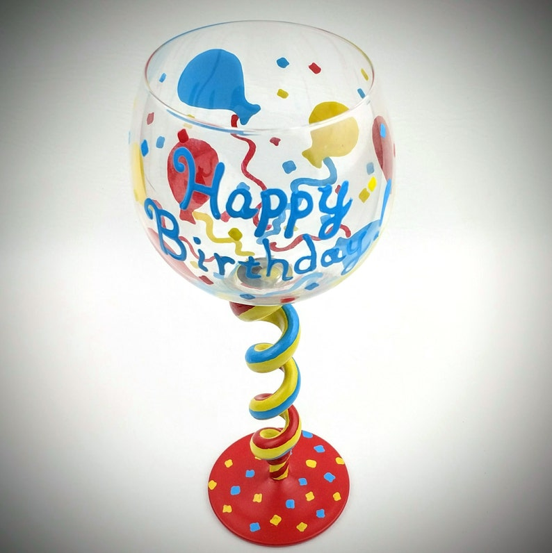 Happy Birthday Hand Painted Wine Glass Unique