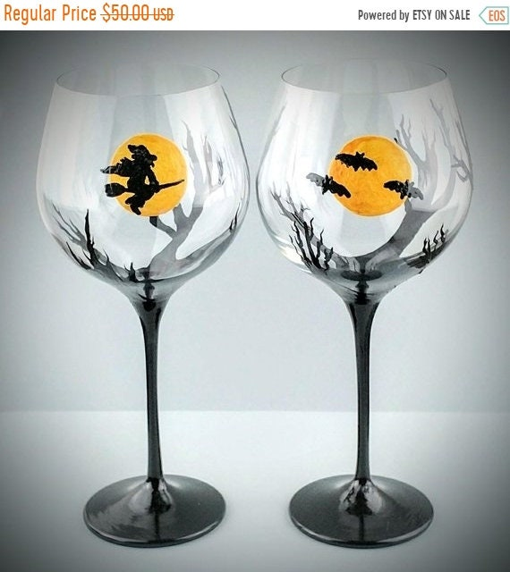 Fall Sale 2 Halloween Hand Painted Wine Glasses Witch Bats Etsy