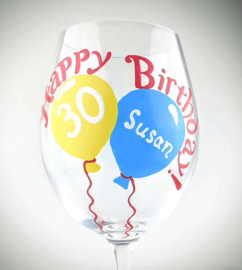 Happy Birthday Hand Painted Wine Glass With Balloons Unique