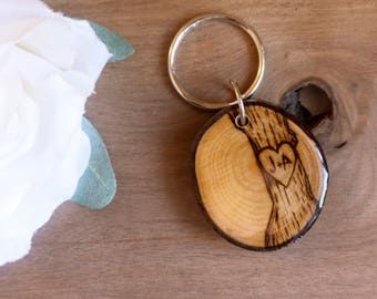 Personalized Tree Keychain   Couples Keychain   Gift for Him   Husband Gift    Wood Keychain   Custom Keychain   Engraved Keychain acf1efb562