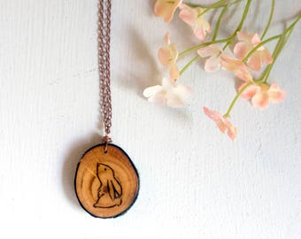 Bunny Necklace, Rabbit Necklace, Bunny Jewelry, Wood Slice Necklace, Wood Slice Pendant, Wood Burned Rabbit, Wood Bunny, Rabbit Jewelry