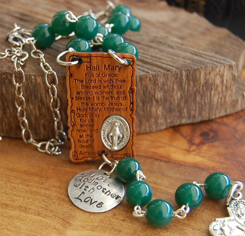 Baptism Gift  Auto Rosary  Olive wood Hail Mary Prayer Miraculous Rosary   Travel Rosary  Catholic Gift Car Rosary  Saint Christopher Medal