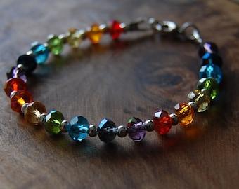 Rainbow Bracelet.  Chakra Bracelet. Yoga Bracelet. Rainbow Crystals. Chakra Jewelry. 7 Chakra Colors Crystal Beads.