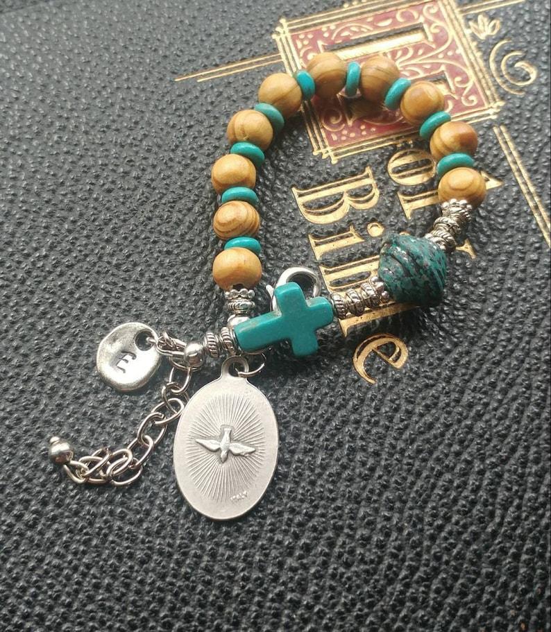 Holy Spirit. Confirmation Gift First Communion Girl First Communion Gift Genuine Olive Wood Beads Bracelet Custom Catholic Gift