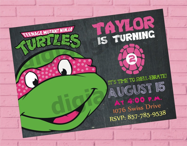 Girl Teenage Mutant Ninja Turtle Birthday Invitation Ninja Etsy