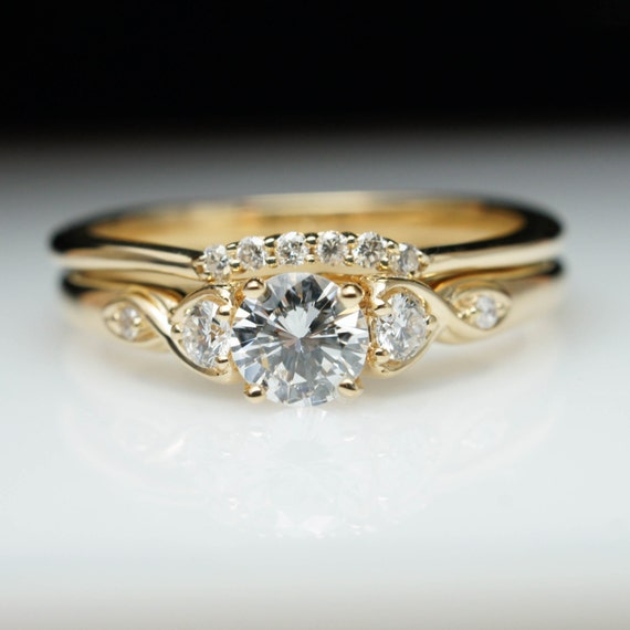 Vintage Antique Style Diamond Engagement Ring Amp Wedding Band